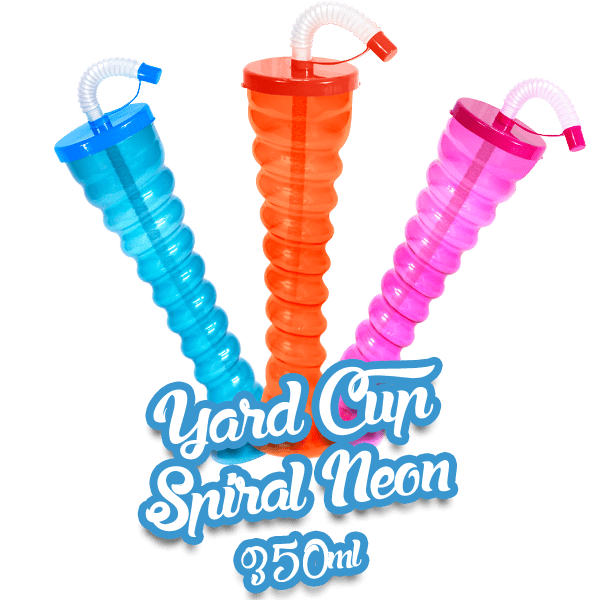 Yard Cup Flat Cover NEON - Spiral 350ml