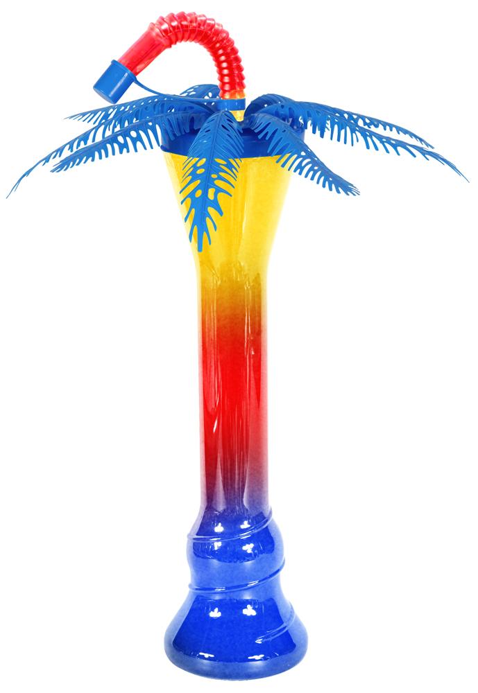 Niebieska palma z butelką