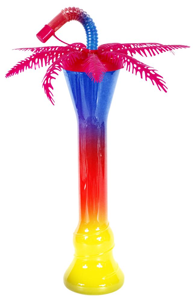 Różowa palma z butelką