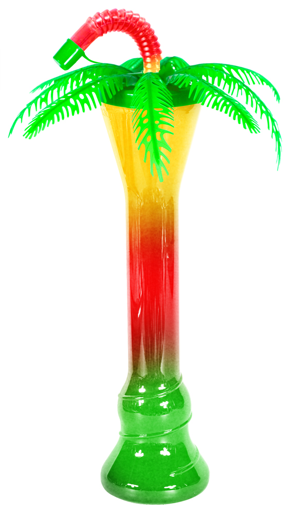 Zielona palma z butelką