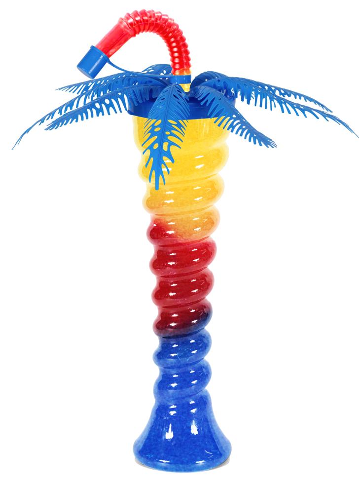 Niebieska palma na spiralnej butelce