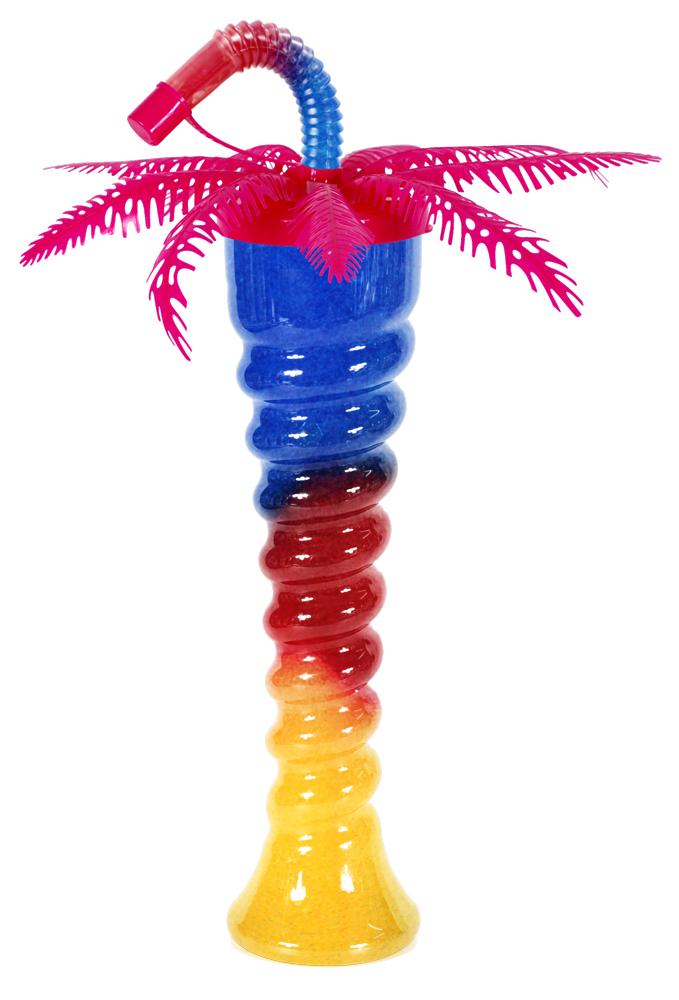 Różowa palma na spiralnej butelce