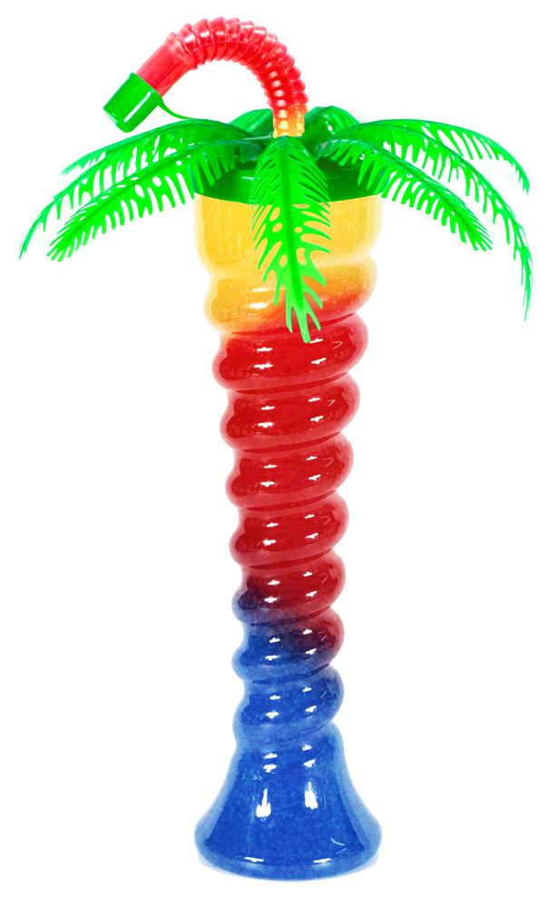 Zielona palma na spiralnej butelce