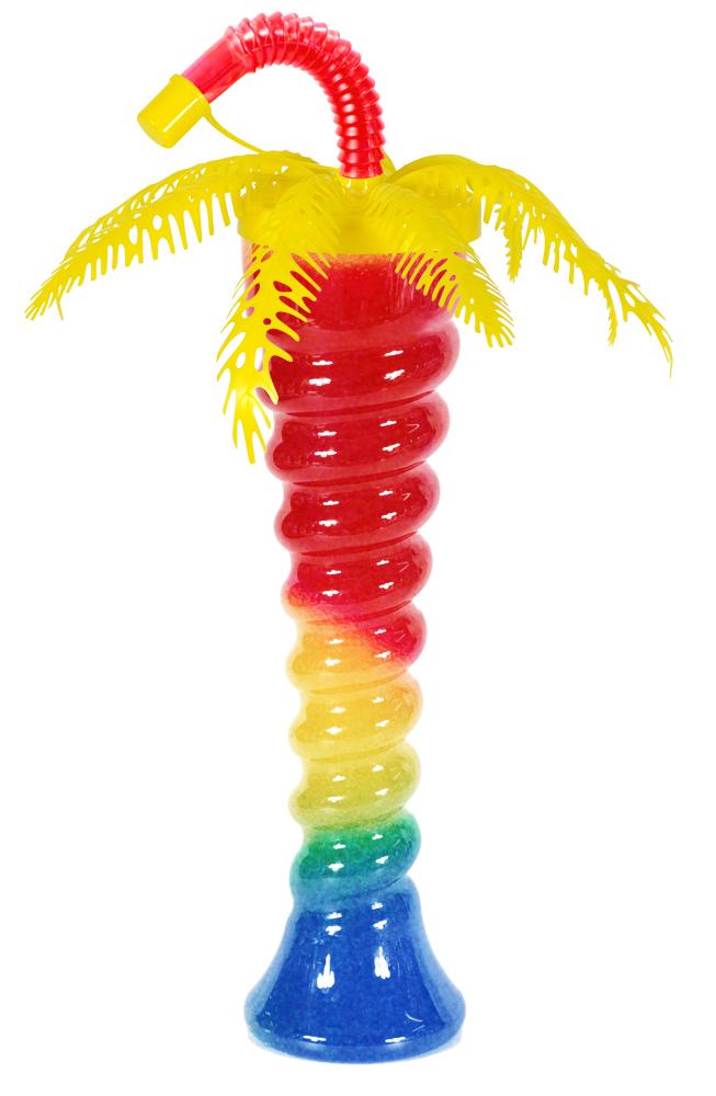 Żółta palma na spiralnej butelce